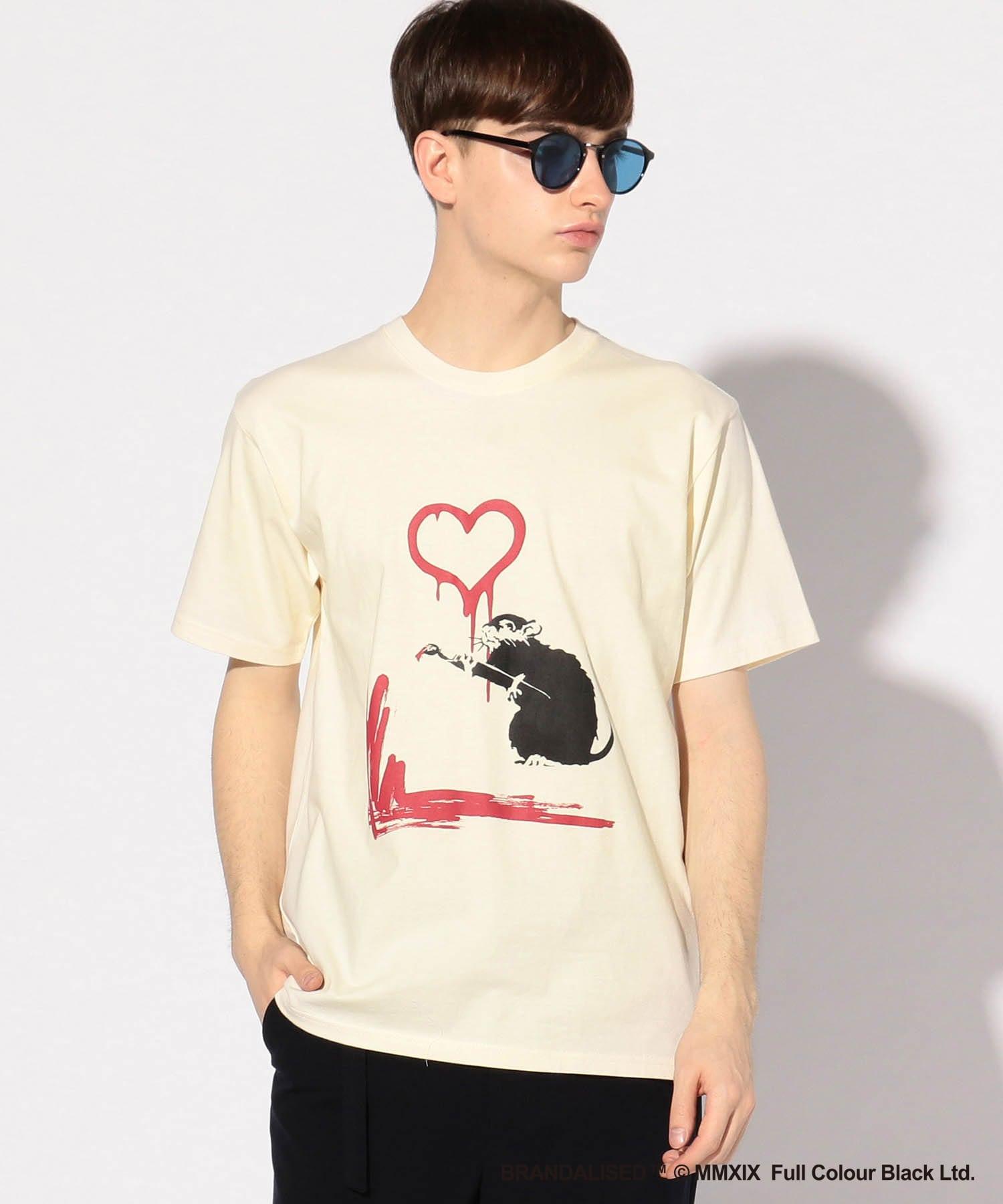 プリントTシャツ『バンクシー(or Banksy)&Love rat(brick wall)+design』