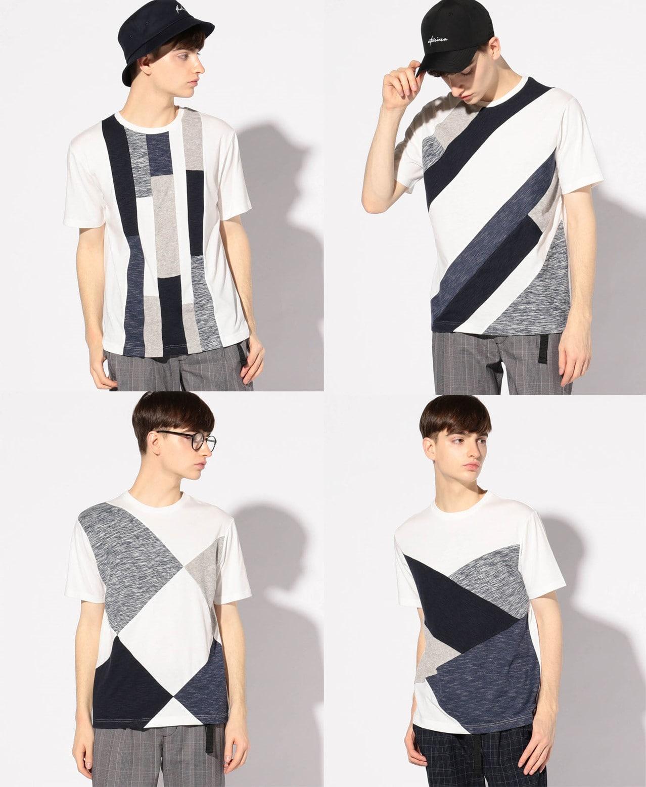 異素材切替デザインTシャツ