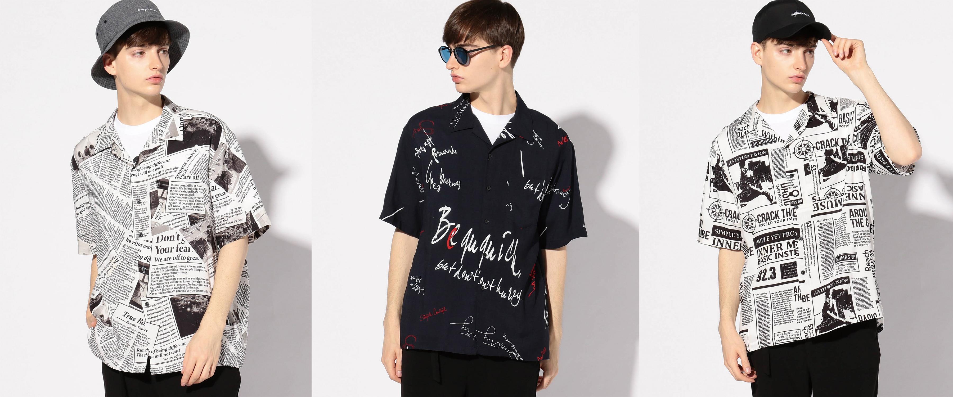 オリジナルアートプリントオープンカラーシャツ