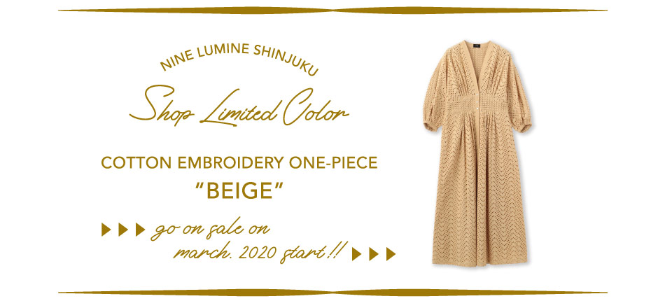 "Cotton Embroidery One-piece NINE LUMINE SHINJUKU SHOP LIMITED COLOR ""BEIGE"""